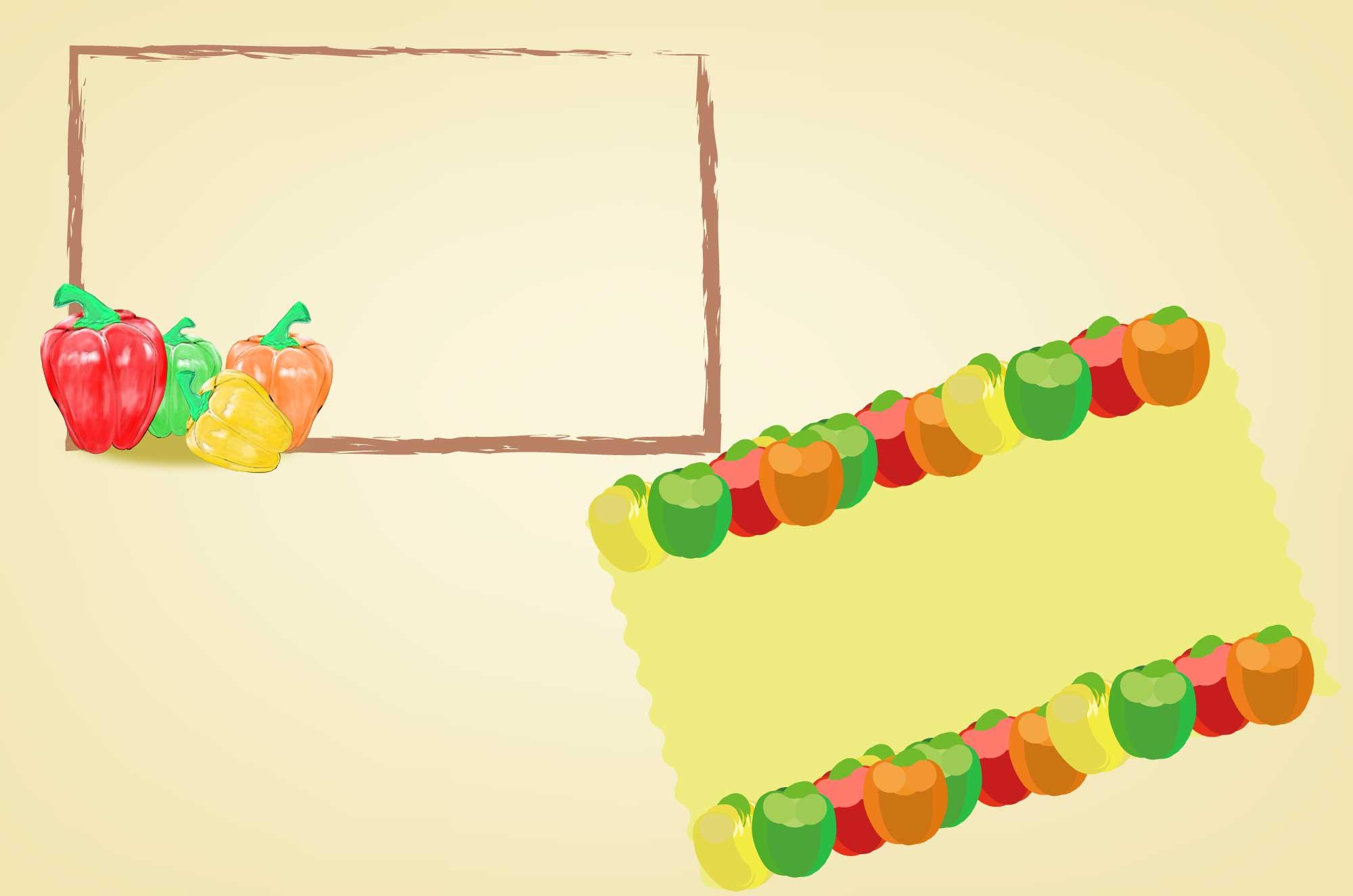 パプリカのフレーム・枠 - カラフルな彩野菜デザイン