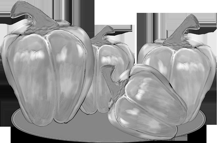 白黒のパプリカのイラスト