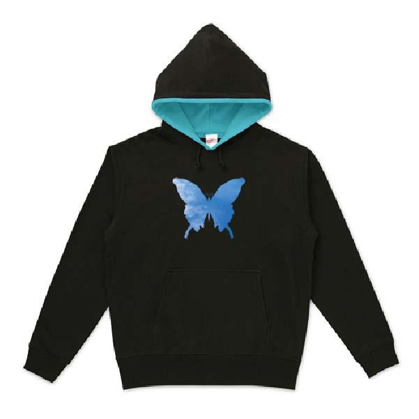 空蝶々可愛いシルエットパーカー
