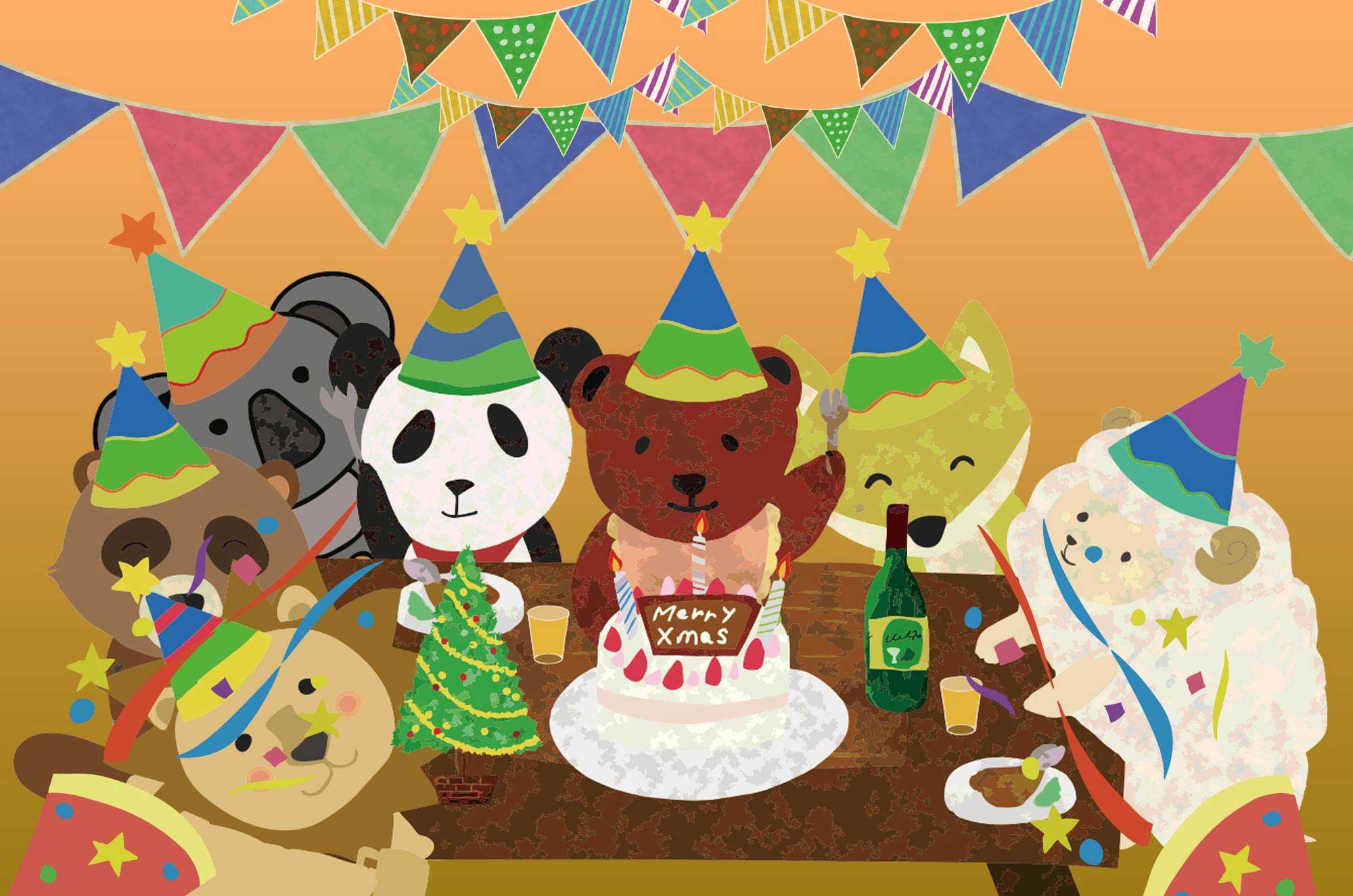 パーティーのイラスト - ケーキに楽しいお祝いシーン素材