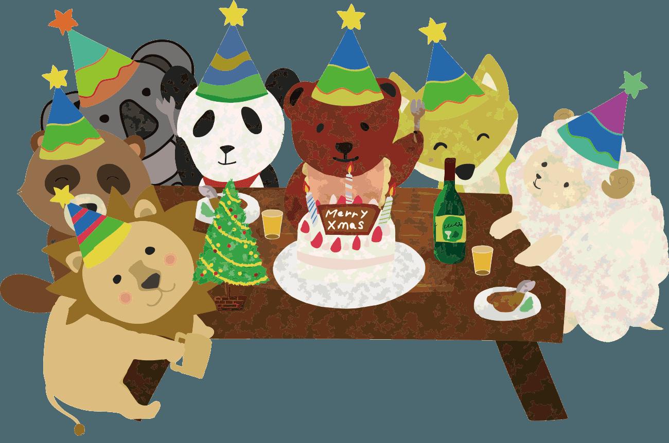 動物たちのクリスマスパーティーイラスト