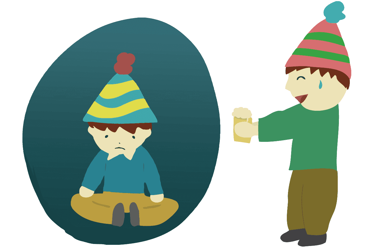 パーティーが嫌いな人とまぁまずは一杯と勧める人のイラスト