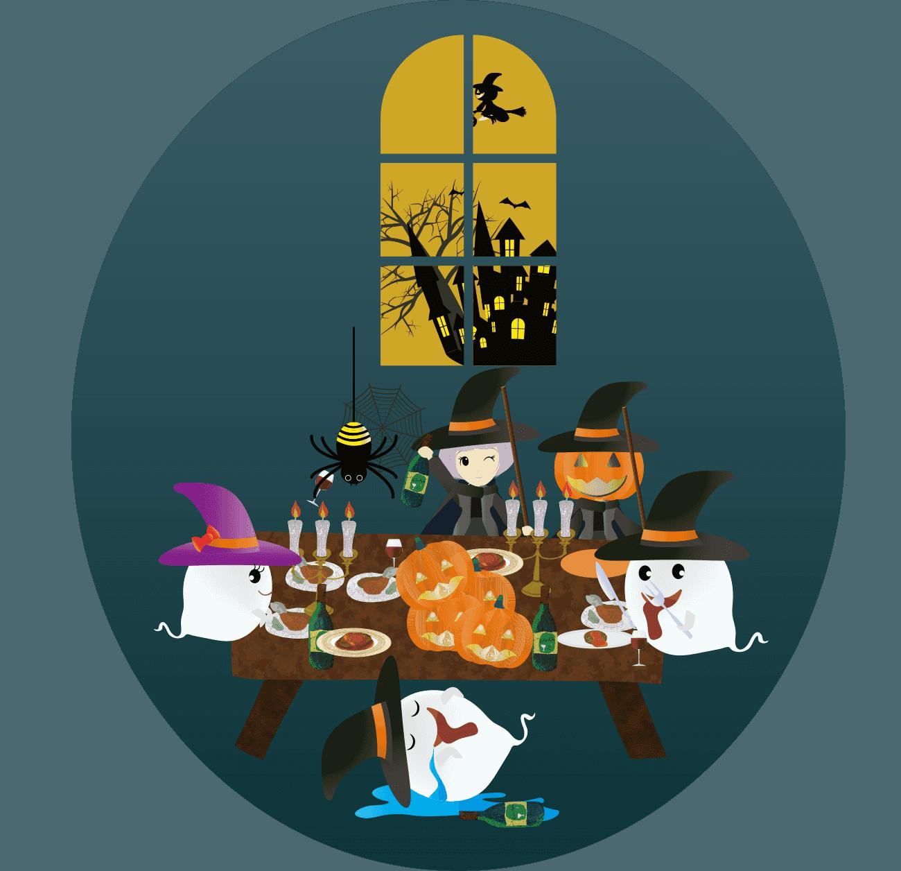 おばけと魔女のハロウィンパーティーイラスト