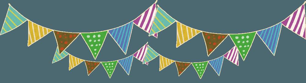 パーティーの飾りつけの三角の旗イラスト