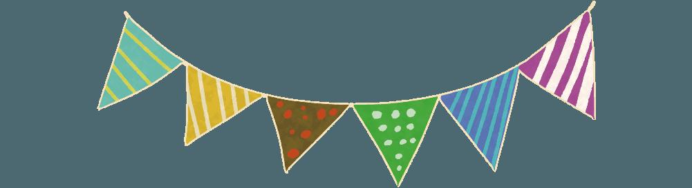 可愛いパーティーの三角旗のイラスト