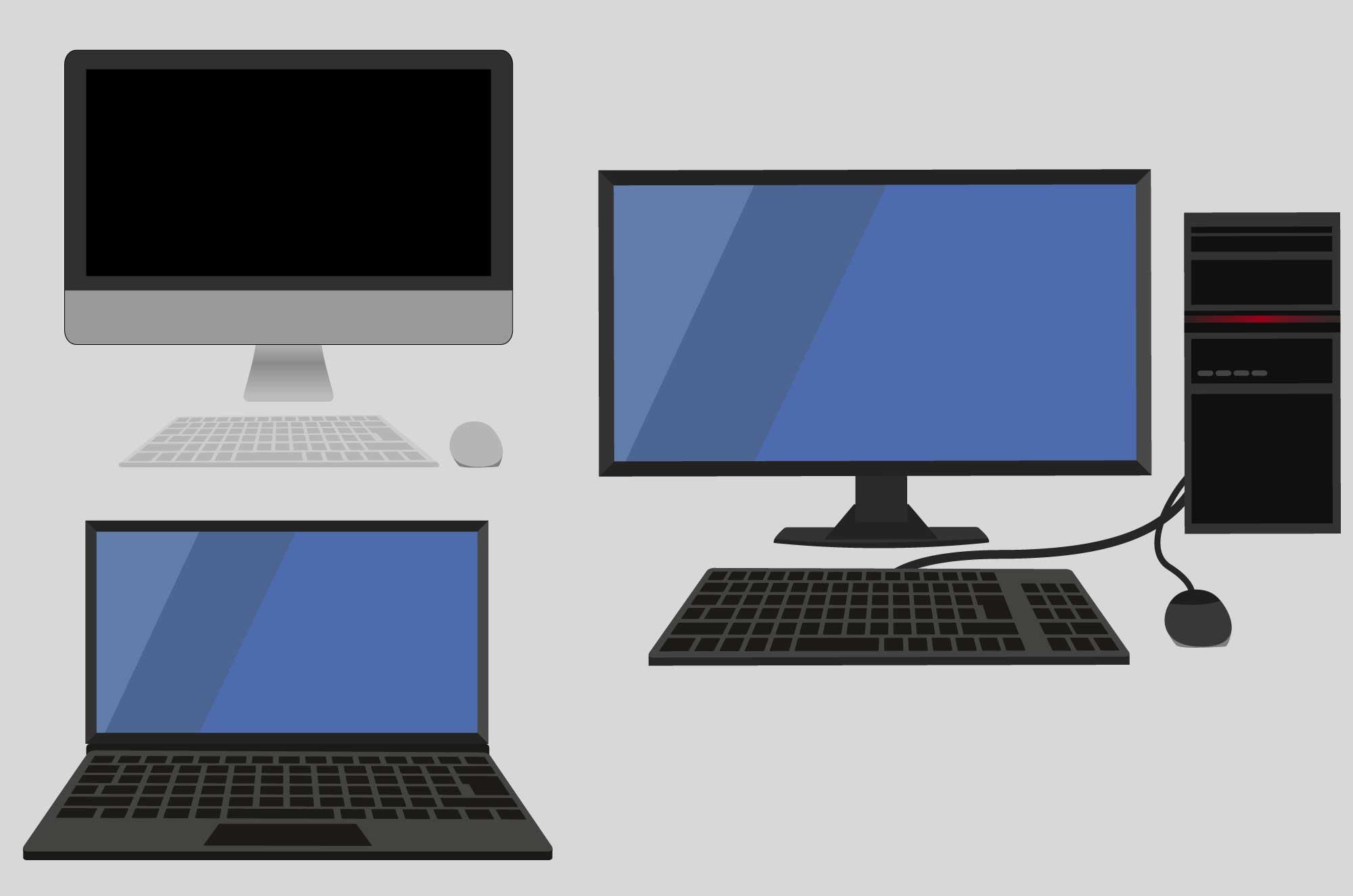 パソコンの無料イラスト - ディスクトップとノート