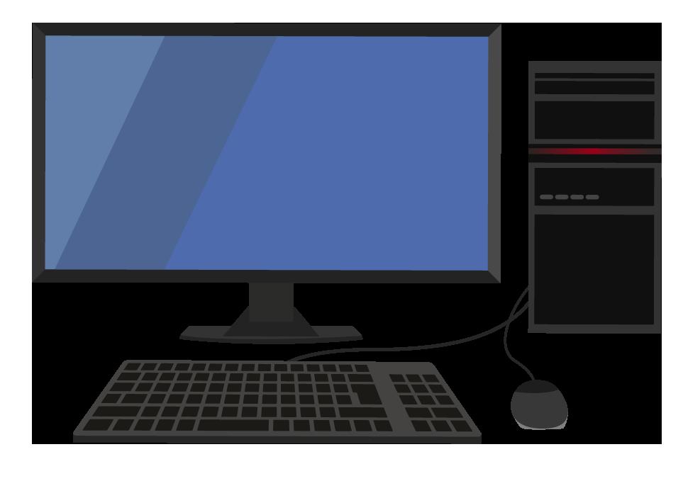 ディスクトップのパソコンイラスト(ウィンドウズ風)