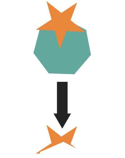 背面オブジェクトで片抜きを実行した図