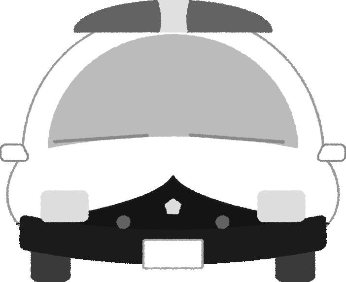 白黒印刷用の可愛いパトカーのイラスト(正面)