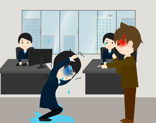 社員の前で怒鳴られるビジネスマンのイラスト