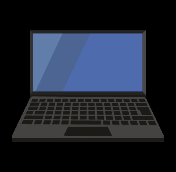 ノートパソコン(正面ふかん)のイラスト