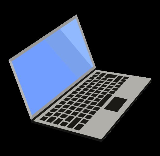 ノートパソコン(グレー斜め右)のイラスト