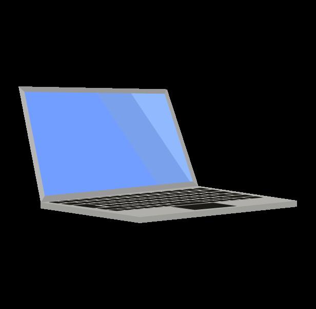 ノートパソコン(グレー斜め左)のイラスト