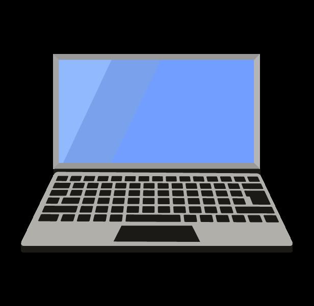 ノートパソコン(グレー正面)のイラスト