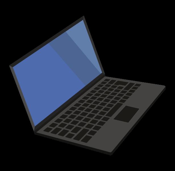 ノートパソコン(斜め右)のイラスト