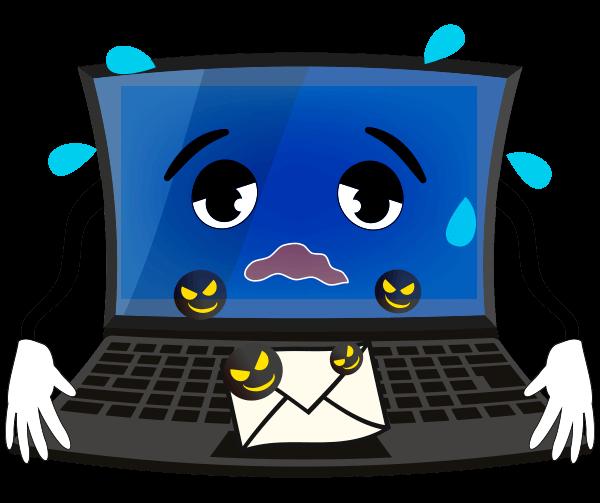 ウイルスに感染したパソコンのイラスト