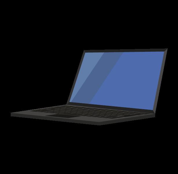 ノートパソコン(斜め左)のイラスト