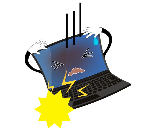 衝撃で壊れるパソコンのイラスト