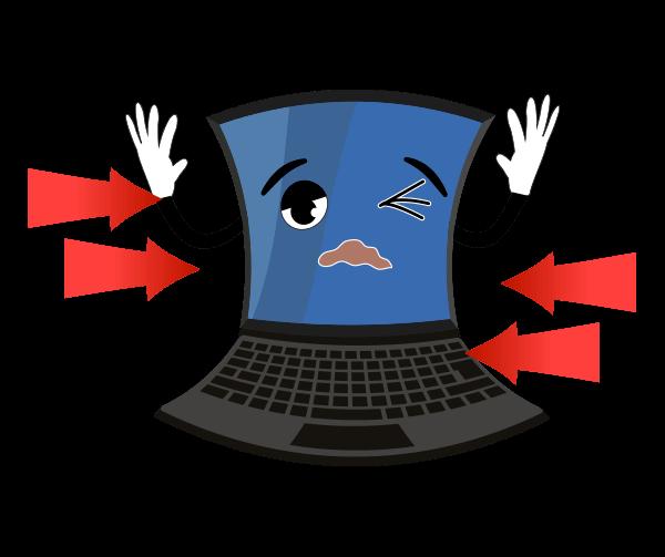 圧迫されるパソコンのイラスト