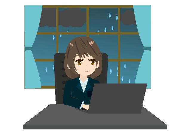 雨降りの日にテレワークするビジネスウーマンのイラスト