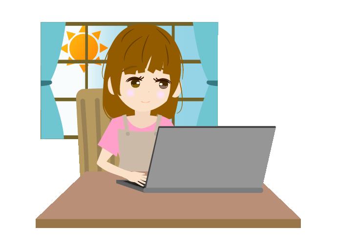 パソコンで作業する主婦のイラスト(左)