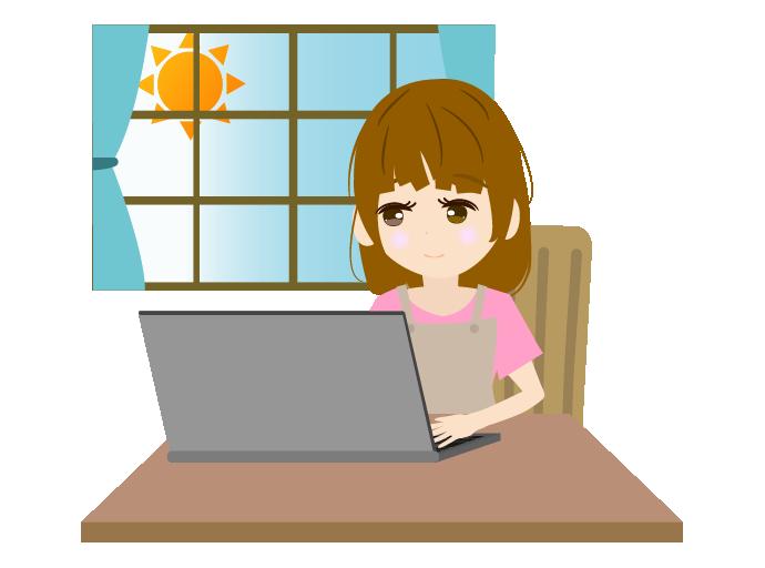 ソコンで作業する主婦のイラスト(右)