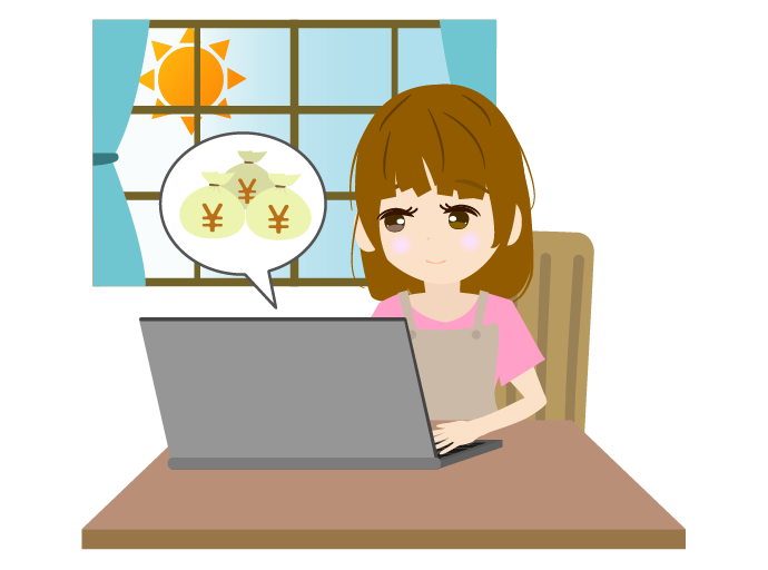 パソコンで復業する主婦のイラスト