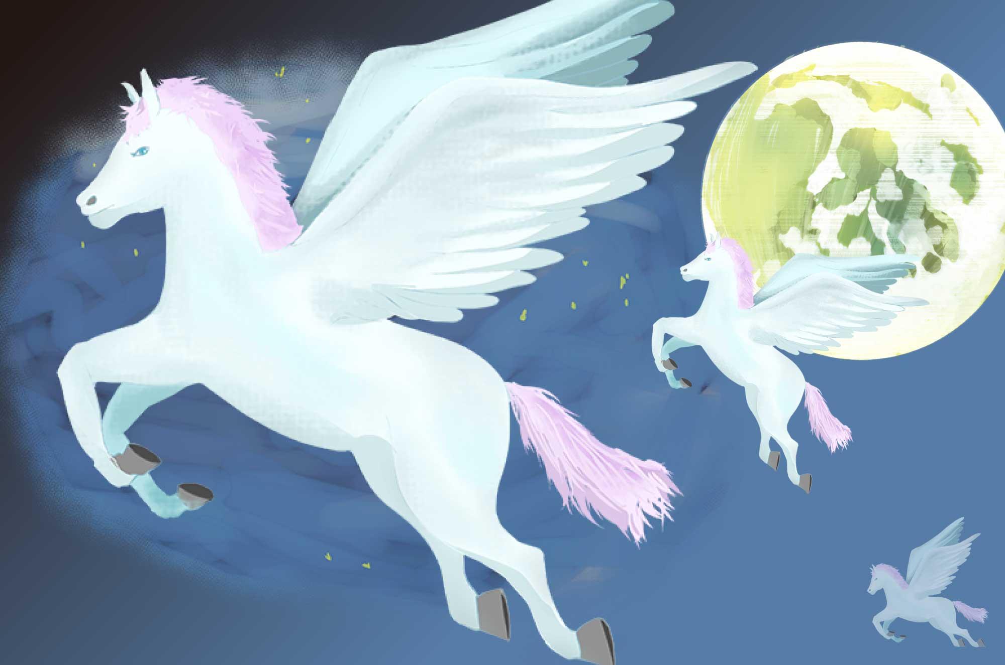 ペガサスのイラスト - 翼の生えた飛ぶ馬・想像の生物