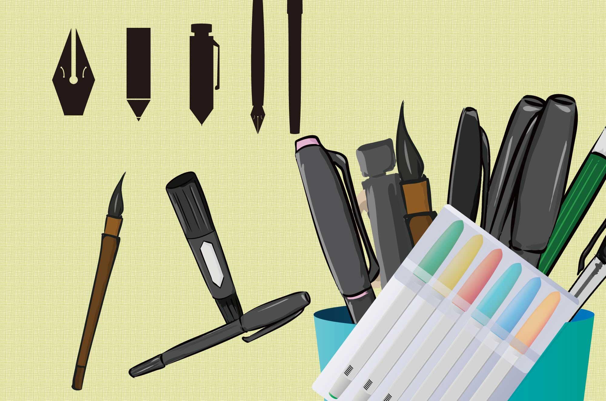 ペンのイラスト - 種類いっぱい文房具のフリー素材