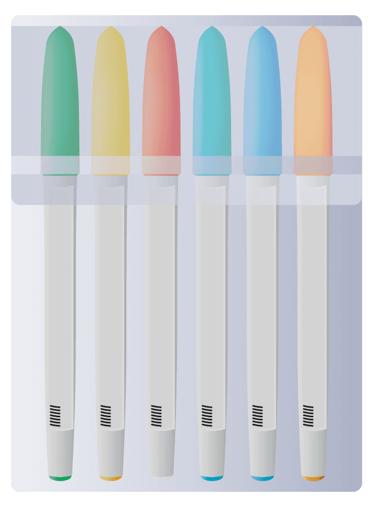 カラーサインペンセットのイラスト