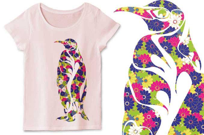 和柄のアートな線のペンギンTシャツ