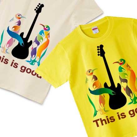 ベースとペンギンのロックでgoodなデザインTシャツ