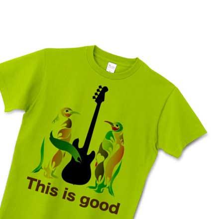 グリーンボディのペンギンとベースのシルエットTシャツ