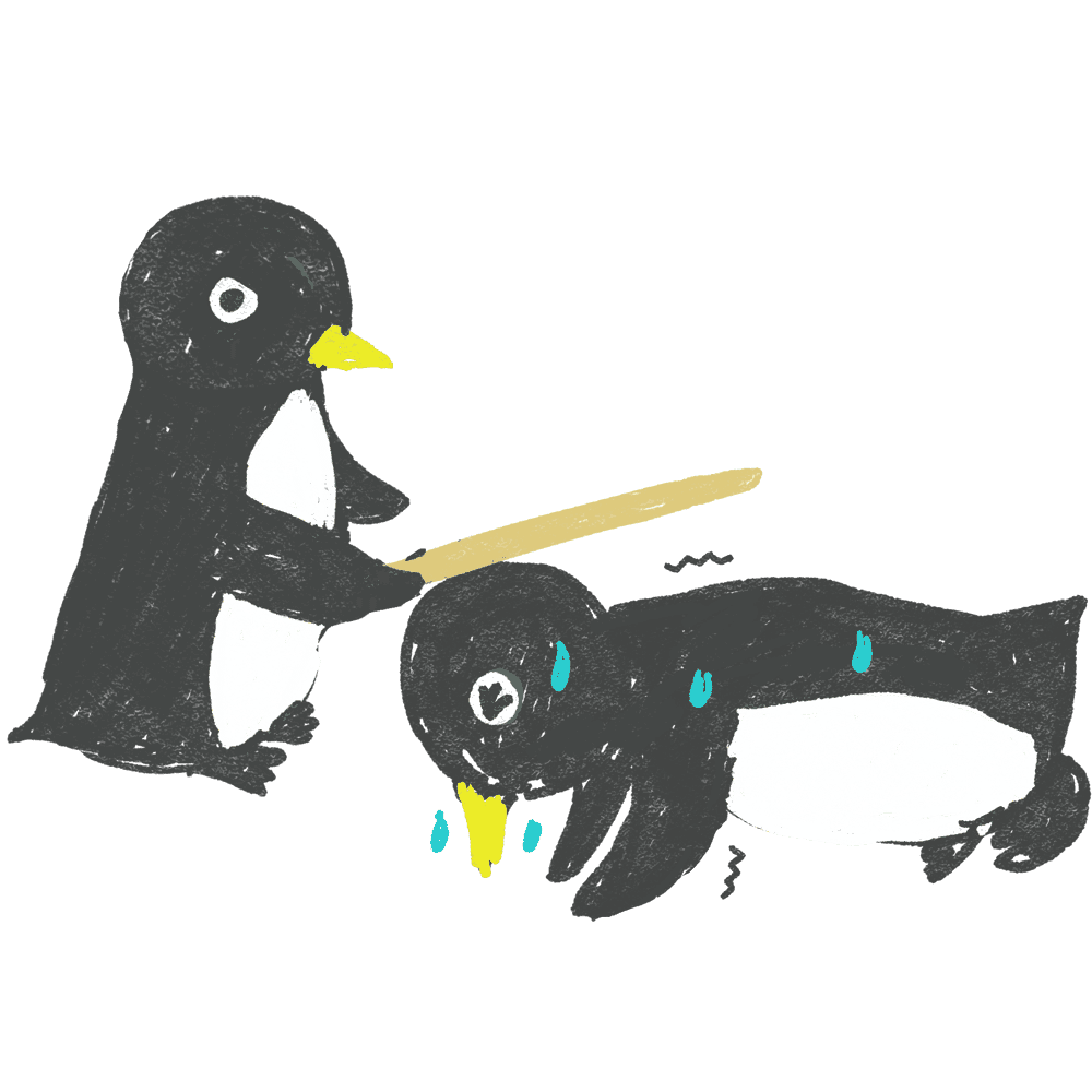 鍛えられる面白いペンギンイラスト