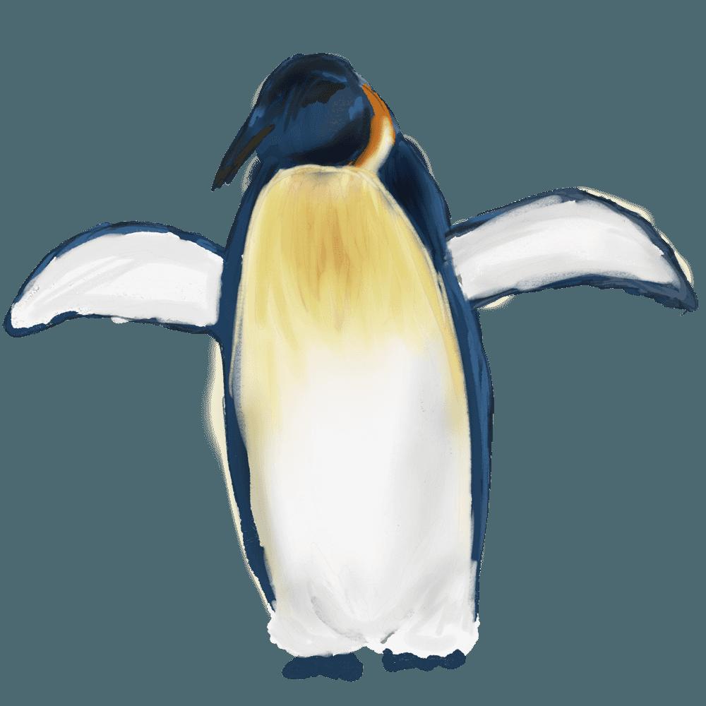 羽を大きく羽ばたかせるペンギンイラスト