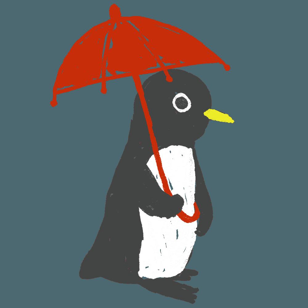 傘をさすペンギンイラスト