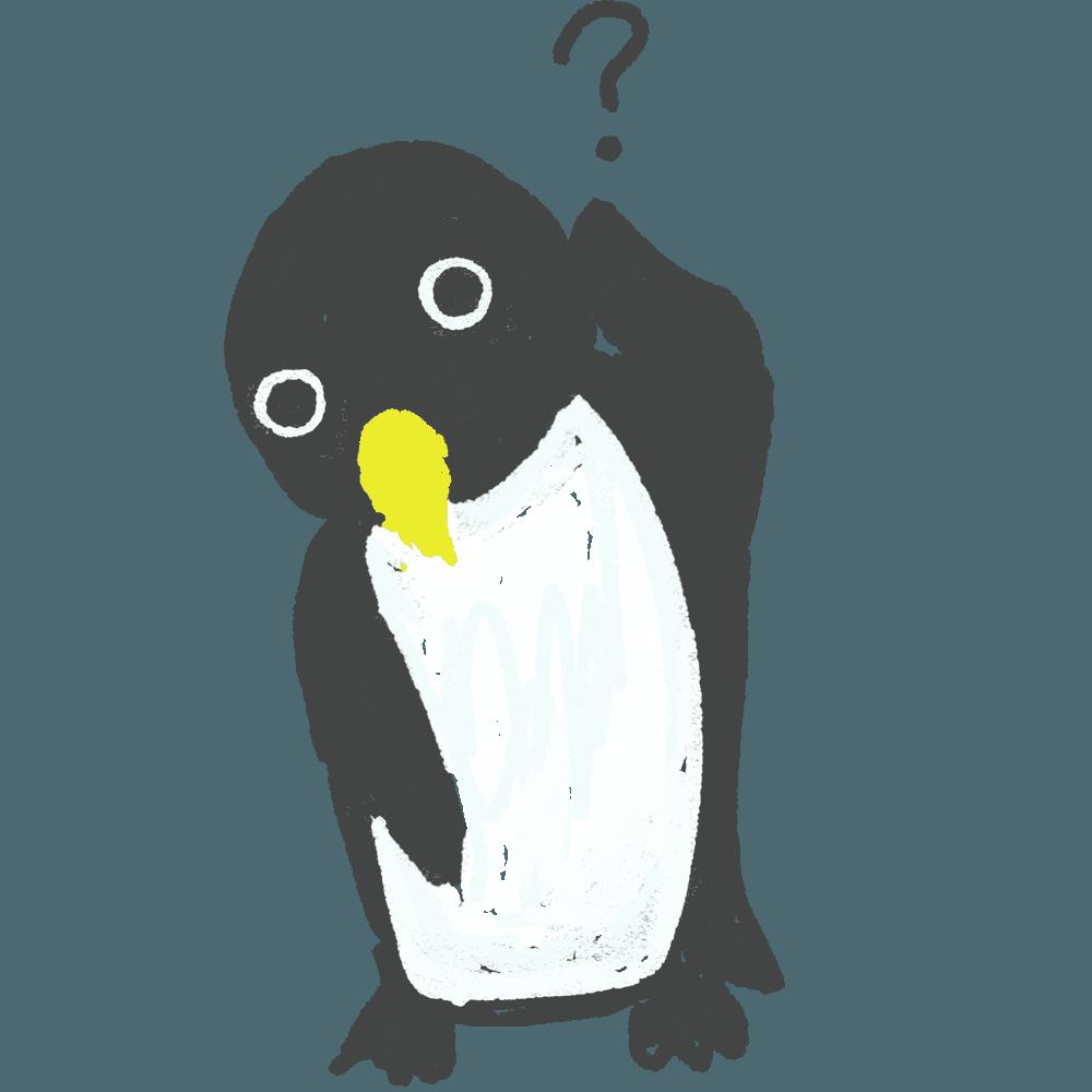 考える可愛いペンギンイラスト