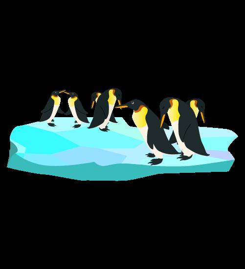 流氷とペンギンの群れのイラスト