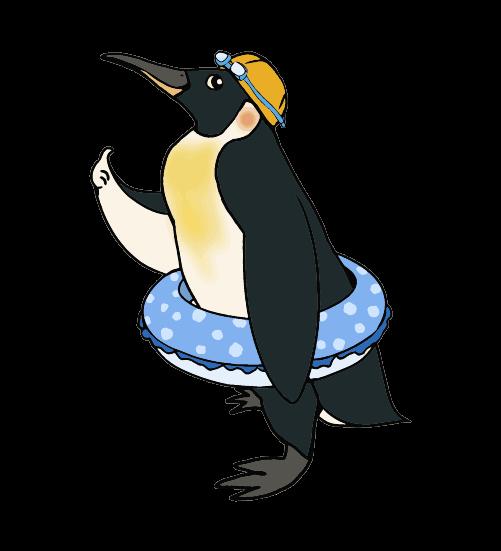 スイマーのペンギンのイラスト