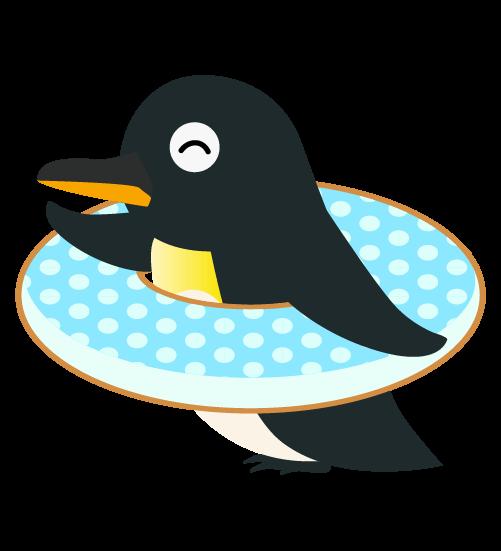 浮き輪ペンギンのイラスト