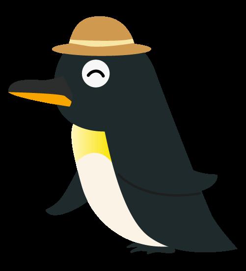 麦わら帽子ペンギンのイラスト