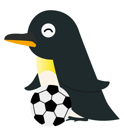 サッカーペンギンのイラスト