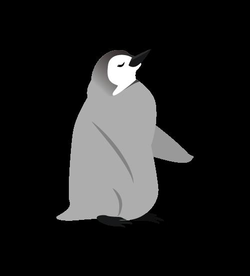 寝るペンギンの子供のイラスト