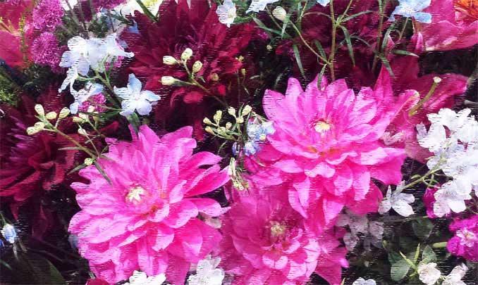 フィルター → フィルターギャラリー →  粗いパステル画で加工した花の写真