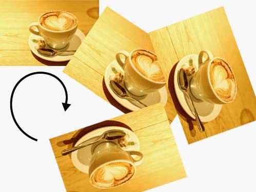 回転するコーヒーカップの写真