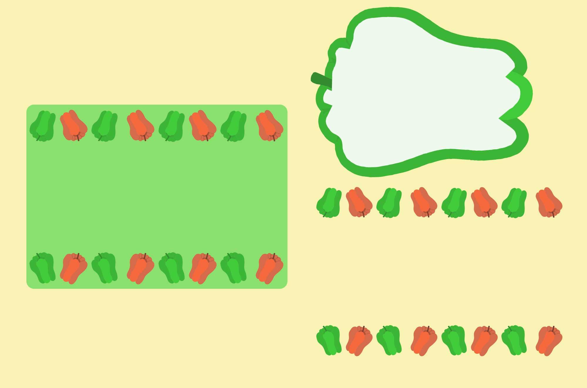 可愛いピーマンのイラストフレーム無料素材 - 野菜の枠