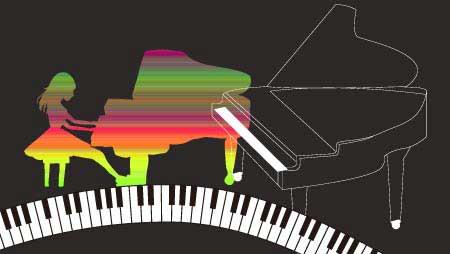 可愛いピアノのイラスト - 演奏会と音楽イメージ無料素材