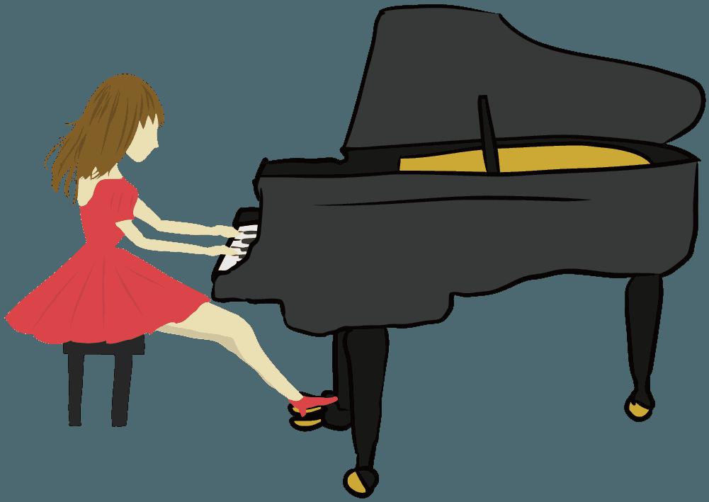 ピアノを演奏する女性のイラスト