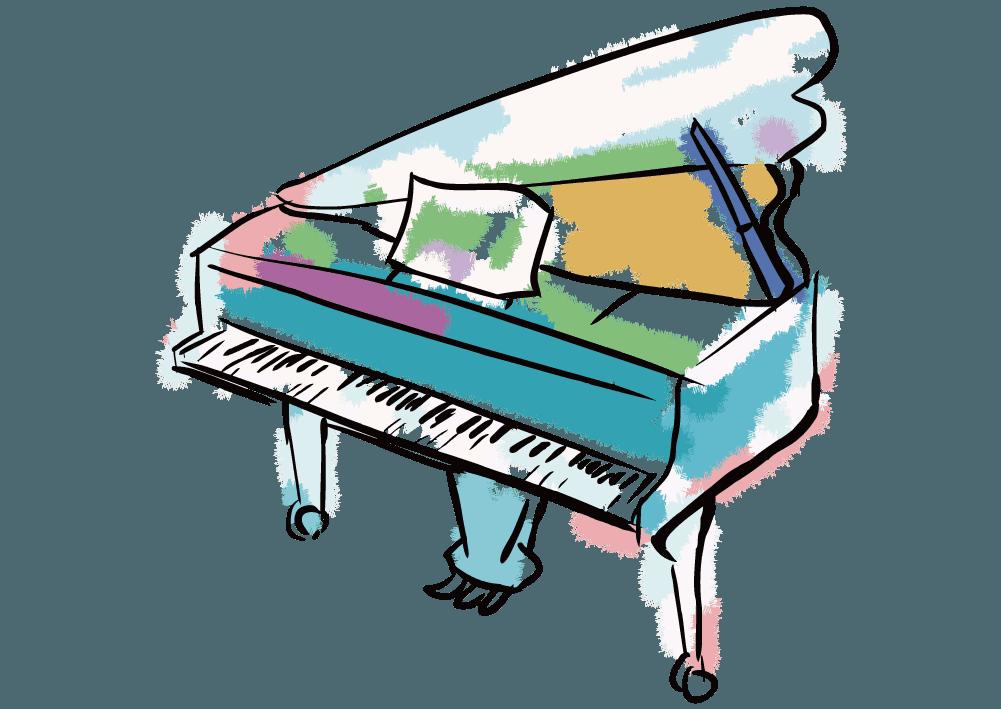 可愛いカラフルな水彩タッチのピアノのイラスト