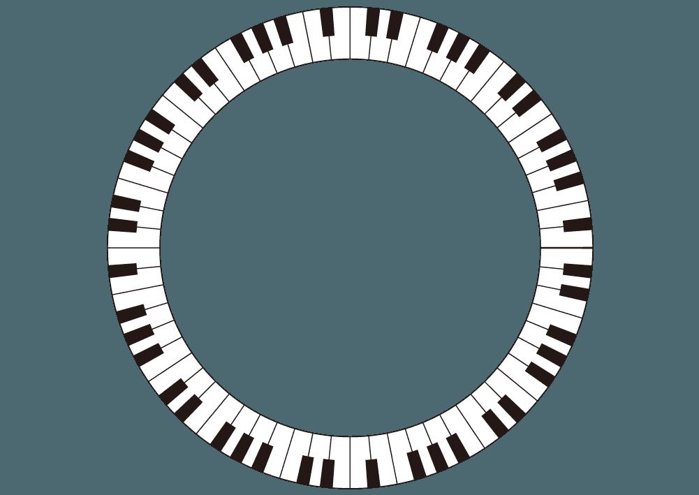 円になった鍵盤のイラスト